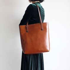 Handmade Women's Fashion Leather Tote Bag Handbag Shoulder Bag Shopper Bag in Gray 14149