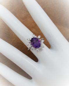 Gorgeous Amethyst with .40ctw Diamonds. ROS Original