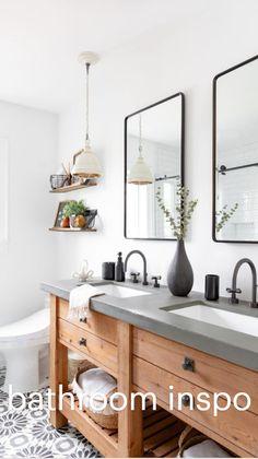 Bathroom Renos, Master Bathroom, Bathroom Ideas, Bathroom Renovations, Remodel Bathroom, Bathroom Inspo, Budget Bathroom, Round Mirror In Bathroom, Bathroom Vanity Mirrors