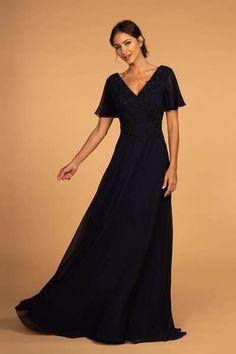 54f41a4f5df1 Mother of the Bride V-Neck Chiffon Long Dress