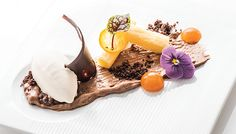 Orange Almond Financier Milk Chocolate Crunch, Apricot Jelly, Coconut Gelato by Deden Putra.