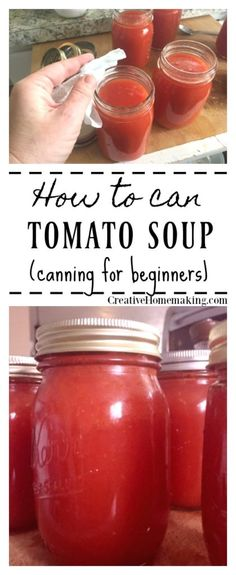 Easy recipe for canning tomato soup, just like Campbell's condensed cream of tomato soup! One of my favorite canning recipes. Canning Tomato Soup, Easy Tomato Soup Recipe, Easy Canning, Canning Tomatoes, Easy Soup Recipes, Canning Tips, Recipes For Tomatoes, Gourmet, Marmalade