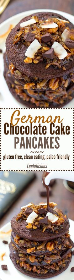 These delicious Coconut Flour German Chocolate Cake Pancakes make a decadent brunch treat perfect for Mother's Day. Gluten free coconut flour chocolate pancakes are topped with a luscious coconut pecan topping. Though decadent this recipe is clean eating, paleo friendly and includes a dairy free option.