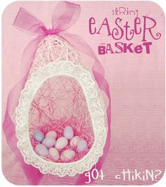 I don't remember a whole lot from my elementary years, but I do remember making these string baskets for Easter, funny eh! I had just though...