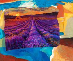 Lavender dream-Oil painting on canvas 24x20, Original landscape-impressionistic oil painting by Nikolov