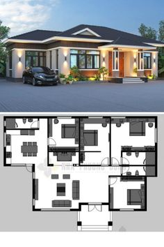 Expansive one-storey villa with four bedrooms Sims House Plans, House Layout Plans, House Layouts, Plans For Houses, Architect Design House, Duplex House Design, Modern Bungalow House Design, Four Bedroom House Plans, Family House Plans