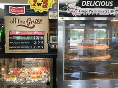 Pizza and hot dogs at Sub Express in Sister Bay, Door County, Wisconsin