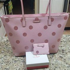 Kate spade polka dot glitter tote/cc holder bundle NWT Kate spade tote bundle pink with pink glitter polka dots. kate spade Bags Totes