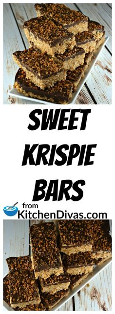 These Sweet Krispie Bars are an easy and yummy treat for any occasion. Or, truth be told, no occasion at all! They never last that long and are best served at room temperature! They are chewy and so delicious! We love topping them with Heath or Skor bits but in a pinch we have used white chocolate chips, M&M's or smarties. My best friend even puts coconut on top and that is the way she loves these fabulous little or big treats! You are only limited by your imagination!