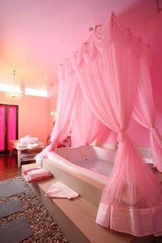 Bathroom Design Ideas - These can be the most suitable places for the pink color in a home. However, pink is also used in bathroom design. That is why it is so pleasant to relax in warm water using fragrant foam and to daydream in a pink bathroom. My New Room, My Room, Pink Bathrooms Designs, Tout Rose, Pink Curtains, Swag Curtains, Pink Houses, Pink Room, Everything Pink