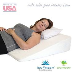 """Acid Reflux Wedge Pillow (32""""x30""""x7"""") with Memory Foam Overlay and Removable Microfiber Cover """"BIG"""" by Medslant. Recommended size for GERD and other sleep issues."""