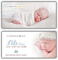 Nils: Geburtskarte 210x100 mm // Karte ist auch in ihrer Wunschfarbe erhältlich // (©Fotos: http://www.corinnechollet.ch)
