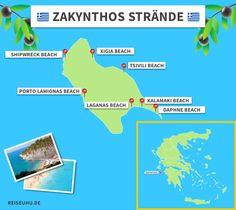 zakynthos strandkarte - New Ideas Places To Travel, Places To Visit, Zakynthos Greece, Reisen In Europa, Travel Around, Travel Inspiration, Lol, Vacation, Beach