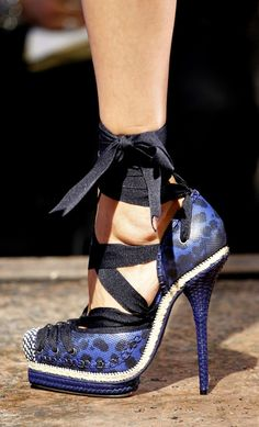 Blue & Black Lace-up Heel