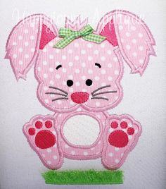 Easter Bunny with Fringe Machine Embroidery by HappytownApplique, $4.50