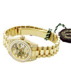 Rolex Oyster Perpetual Lady Datejust 18K YG Diamond President Band 179158 - NEW #Rolex #DressFormal
