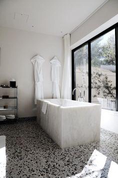 Contemporary marble bathtub via Damsel In Dior