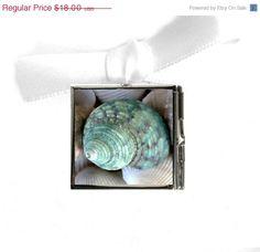 ON SALE Summer Jewelry  Seashell Photo Locket,  Aqua Seashell, Summertime And THE Beach Is So Easy. $14.40, via Etsy.