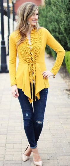 Ruffle Front Cardigan- I want this but in a different color
