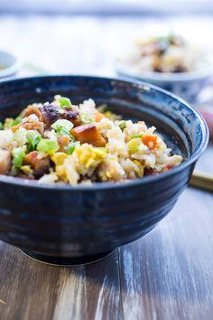 Pork Belly Fried Rice   girlinthelittleredkitchen.com Pork Belly Recipes, Rice Recipes, Vegetable Recipes, Cooking Recipes, Vegetable Dish, Easy Chinese Recipes, Asian Recipes, Filipino Recipes, Chinese Vegetables