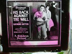 1922 Magic Lantern Advertising Movie Slide His Back Against The Wall Hatton   eBay
