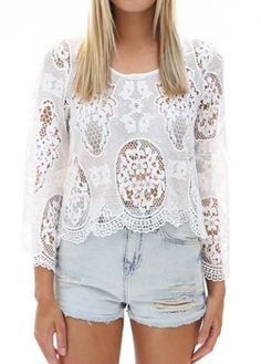 White Lace Design Round Neck Blouse on sale only US$21.75 now, buy cheap White Lace Design Round Neck Blouse at modlily.com