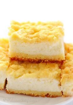 Cream Pie Bars with wonderful lemon flavor fluffy filling made of yogurt and sour cream Fun Desserts, Dessert Recipes, Bar Recipes, Cheesecake Recipes, Delicious Desserts, Diet Recipes, Recipies, Apple Pie Bars, Moist Pumpkin Bread