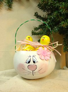 Reserved for Karen Hand painted gourd bunny Easter basket with two gourd chicks…