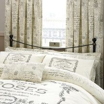 Cream Vintage Paris Script Thermal Pencil Pleat Curtains