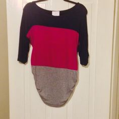 Navy blue, pink and gray shirt Short sleeve top with navy blue top then pink then gray. Gathered at sides NWT Tops
