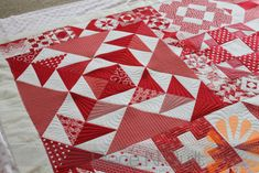 Piece N Quilt: Red & White Modern Building Blocks Quilt - Custom Machine Quilting by Natalia Bonner