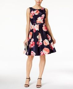 Jessica Howard's stunning floral-print dress is poised to become one of your favorites for social events. | Shell and lining: polyester; belt: polyurethane | Machine washable | Imported | Scoop neckli