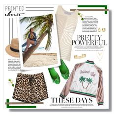 """""""Printed Shorts at the Beach"""" by feelgood35 ❤ liked on Polyvore featuring Ralph Lauren Collection, adidas, Gottex, WithChic, Stella & Dot and BERRICLE"""