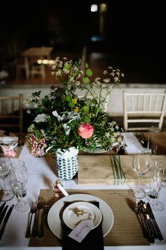 Place Setting with Gold Spray Painted Animal Name Tag | Byre at Inchyra Wedding Venue | The Old Cow Barn in Scotland | Rustic Barn Wedding | Contemporary Decor | Greenery & Pink Florals | Gold Accents | Images by Claudia Rose Carter | http://www.rockmywedding.co.uk/layla-alastair/