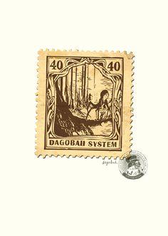 Stars Wars Stamps - Stefan Van Voggel  vintage design Post - Dagobah System 40 - Trial of Skill (knowledge)