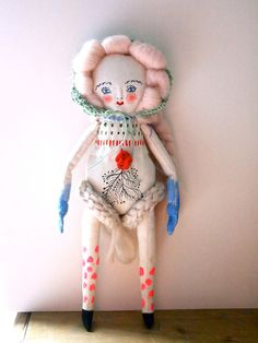 Folk doll hand painted linen display art doll by JessQuinnSmallArt