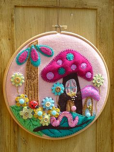 aus Filz/Felt - - Fairyland - Hand Embroidery in Circle Hoop - Handmade Wall Art By BettyShek, found on Etsy Felt Diy, Felt Crafts, Fabric Crafts, Sewing Crafts, Diy And Crafts, Sewing Projects, Arts And Crafts, Felt Applique, Embroidery Hoop Art