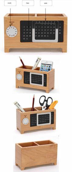 wooden Perpetual Calendar Pen&Pencil Holder Desk Organizer idear