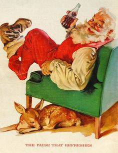 "Santa Claus with Sleeping Fawn / Coca-Cola Christmas 1958 Vintage Print Ad Color Illustration Coke ""The Pause That Refreshes""; Coca Cola Vintage, Coca Cola Ad, Vintage Ads, Vintage Posters, Pepsi, Coca Cola Christmas, Christmas Ad, Vintage Christmas Cards, Christmas Pictures"