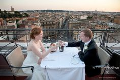 Host an unforgettable wedding reception at this exclusive venue in Rome. The view of the city at sunset is simply breathtaking! #Italy #Rome #Wedding