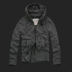 Abercrombie and Fitch Mens mountain zipper Hooded Sweater grey AF440