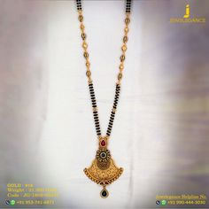 Gold 916 Premium Design Get in touch with us on Gold Mangalsutra Designs, Gold Jewellery Design, Pendant Jewelry, Beaded Jewelry, Long Pearl Necklaces, Black Gold Jewelry, Jewelry Model, Jewelry Patterns, Jewelry Stores