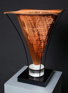 "Michael Brolly ""Sandblasted Artifact""  wood, bronze, optical glass"