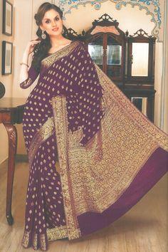 Byzantium Purple Chiffon Embroidered Party and Festival Saree Sku Code:79-4105SA606688 $ 47.00