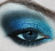Shimmery Black and Blue Smoky Eye Makeup
