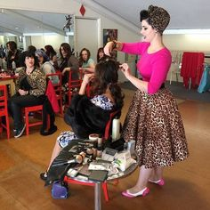 """Teaching hair and makeup at Pinup Bootcamp in Christchurch!"""