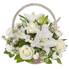 Delicate White Lily Basket Makes A Touching Floral Tribute For Funerals. The Arrangement Is Made From Pure White Oriental Lily Flowers, White Avalanche Roses, Carnations And Chamelaucium. Flowers Uk, Beautiful Bouquet Of Flowers, Flowers Online, Amazing Flowers, Flower Delivery Uk, International Flower Delivery, Funeral Bouquet, Funeral Flowers, Church Flower Arrangements