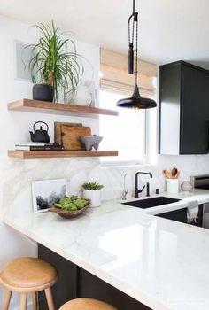 trendy kitchen decor black and white interiors Rustic Kitchen, New Kitchen, Kitchen Decor, Kitchen Sink, Kitchen Modern, Kitchen Ideas, Kitchen Cabinets, Modern Sink, Post Modern