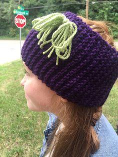 Dark Purple Headband Ear Warmer With Green Bow by LibertysBoutique