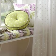Cover a window seat and add matching cushions. 'Boheme collection' shown. Corner Curtains, Voile Curtains, Drapery, Natural Curtains, Fabric Crafts, Diy Crafts, Clarke And Clarke Fabric, Made To Measure Curtains, Craft Corner